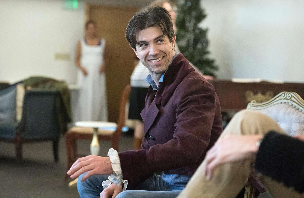 """Thomas Gorrebeeck rehearses for """"Miss Bennet: Christmas at Pemberley"""" at the Marin Theatre Company in Mill Valley, California on November 09, 2016."""