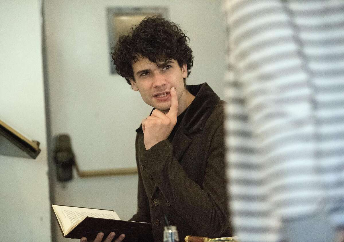"""Adam Magill rehearses for """"Miss Bennet: Christmas at Pemberley"""" at the Marin Theatre Company in Mill Valley, California on November 09, 2016."""