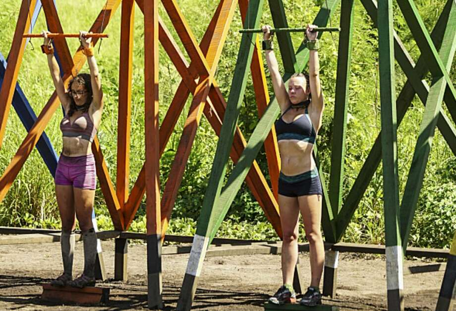 """In the  8th episode of the reality TV series """"Survivor,"""" which aired on Wednesday November 9, 2016, Albany ADA Jessica Blain-Lewis proved to be a tough competitor in this challenge, where she placed second out of the remaining 13 castaways. (CBS.com photo)"""