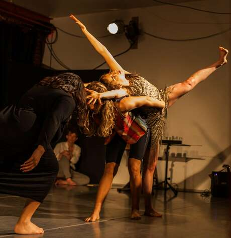 """Aiano Nakagawa, Jesse Wiener and Lili Weckler dance an impassioned trio in """"Out of Earth."""" Photo: Lauren Matley."""