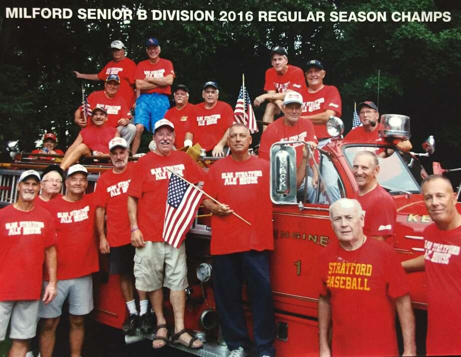 The Stratford Ale House won the Milford Senior Softball League regular-season and playoff championships with a record of 16-1. Shown in the bottom row from left to right are Ron Puopolo, Bob Sheridan, Tom Kapitan, Joe Mishbak, Bill O'Brian, Ray Dillon, Dave Heriot, Bob Dillon and Tony Giaquinto. Shown in the top row from left to right are Ed Finnagan, Tom Golino, Charly Senft, Glenn Canton, Bill Muldowney, Jeff Peterson, Mike Kelleher, Ed Swarski, Bob Smith, Paul Mengold and Gary Marks. Missing from the photo is Brian Morrissey. Photo: Contributed Photo / Connecticut Post contributed