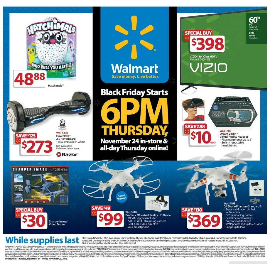 A screenshot of Walmart's Black Friday circular advertisements for 2016. Photo: File/Walmart