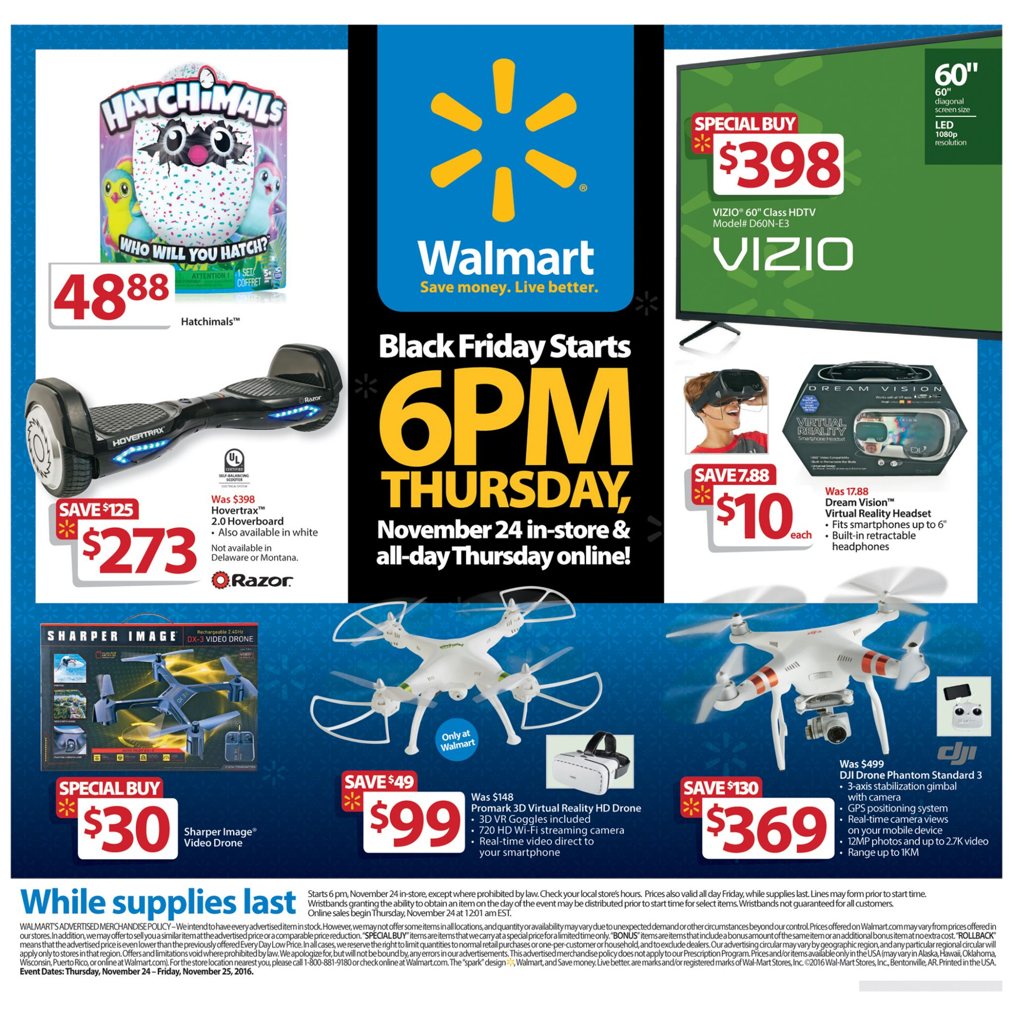 Walmart's Black Friday 2016 Doorbuster ad circular released
