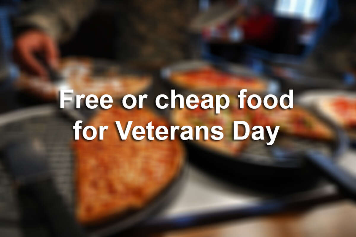 Where you should take your friend or family member that's active duty or a veteran to eat on Veterans Day? Somewhere where they can get a cheap or free meal! Here are 30+ restaurants in the San Antonio area offering deals on Veterans Day. Unless otherwise noted, all deals are available to active duty military and veterans, require a valid military I.D., are dine-in only, and are available Friday, Nov. 11, only. See restaurant websites for hours and details.Sources: Restaurant websites, www.veteransdayfreebies.com, themilitarywallet.com