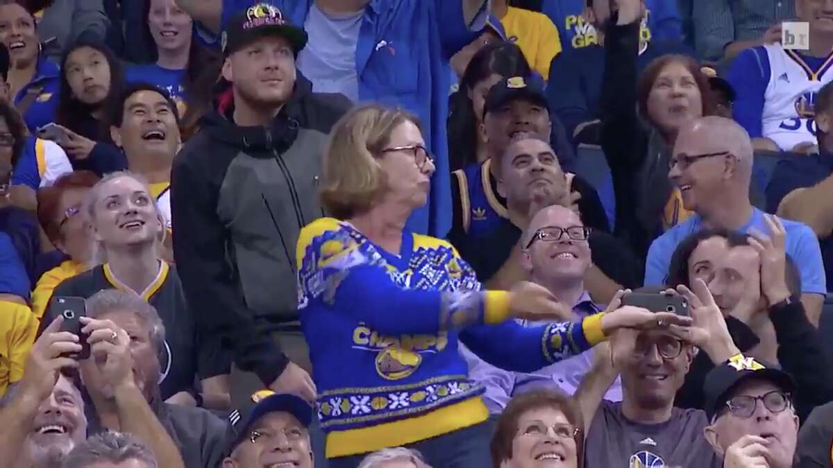 A Warriors fan named Robin Schreiber attending a game got really into her dance cam moves in November 2016, getting herself a bit of unintentional publicity in the process. Read more: Dancing mom back at it with more sweet dance moves
