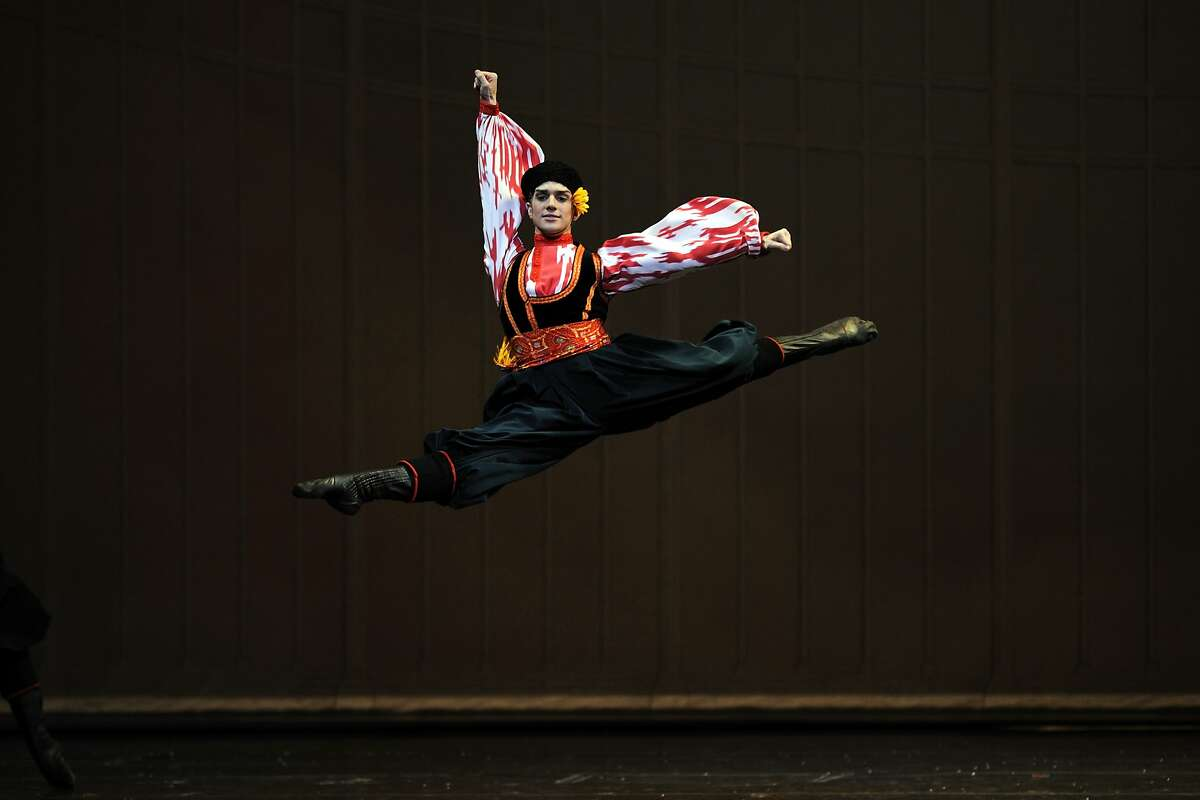 Myles Thatcher in the Russian dance in the San Francisco Ballet's