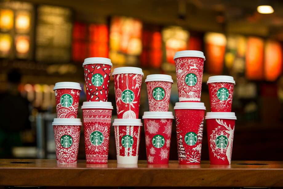 A look at last year's cups. The designs were drawn by customers. Photo: Joshua Trujillo/Starbucks