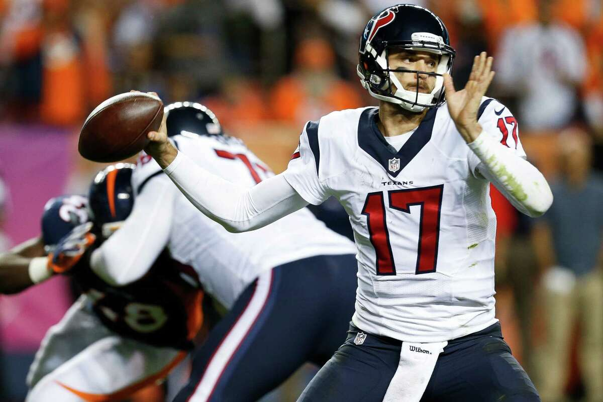 Four things to watch ALL EYES ON OSWEILER Every conversation about the Texans begins with quarterback Brock Osweiler, who has nine touchdown passes, nine interceptions and a 73.0 rating that ranks 30th. He's been horrible in three road games in which the offense has scored one touchdown. He averages 169.7 yards passing on the road. The Texans have been outscored by 63 points away from NRG Stadium. Not only does Osweiler need to lead them to a victory, but he has to play well to alleviate some of the criticism.