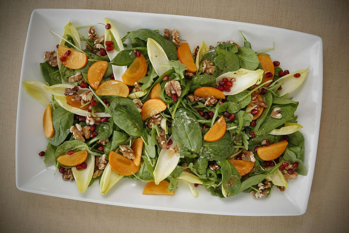 A Fall Salad with Pomegranate Vinaigrette is seen on Wednesday, Nov. 9, 2016 in San Francisco, Calif.