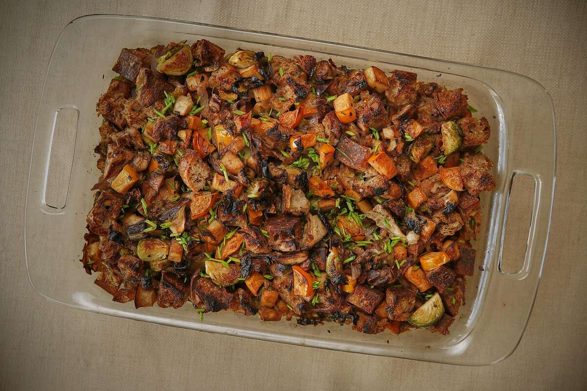 Roasted Brussels Sprouts, Trumpet Mushroom and Persimmon Dressing is seen on Wednesday, Nov. 9, 2016 in San Francisco, Calif.