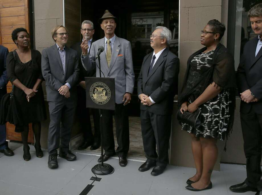 Co-chair of Homeless Coordinating Board and veteran Dell Seymour (wearing hat) and Mayor Ed Lee announce 33 dedicated units for chronically homeless veterans at 528 Valencia St. on Thursday, November 10, 2016, in San Francisco, Calif. Photo: Liz Hafalia, The Chronicle