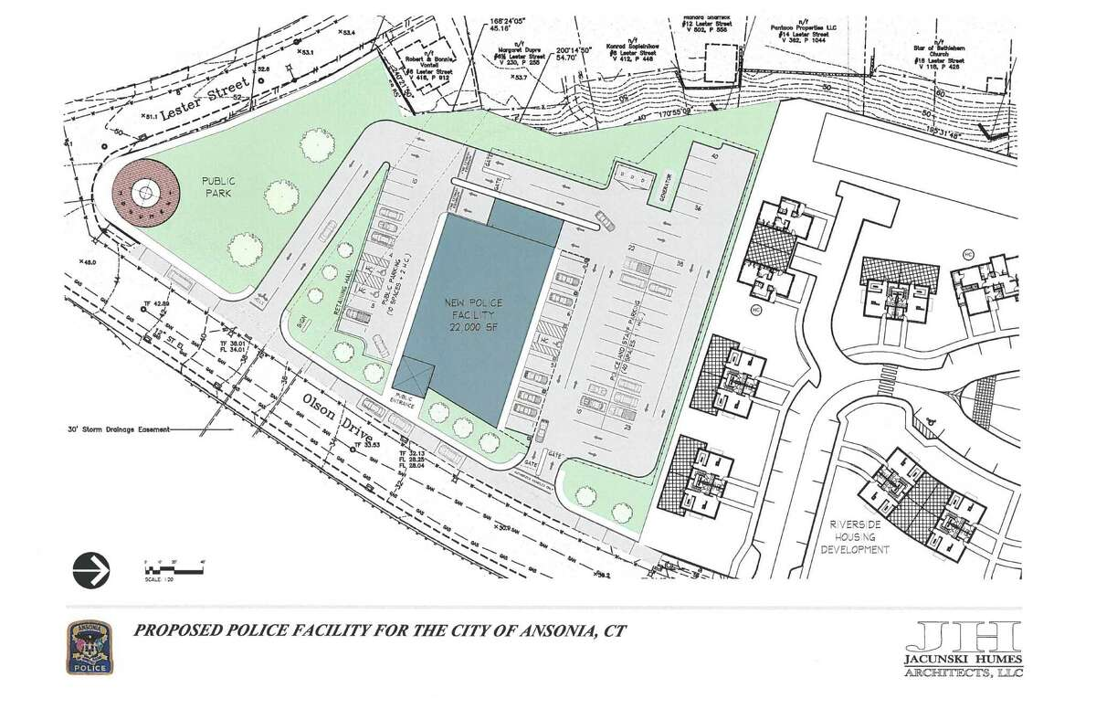 site plan showing location of proposed Ansonia Police Department building on Olson Drive.