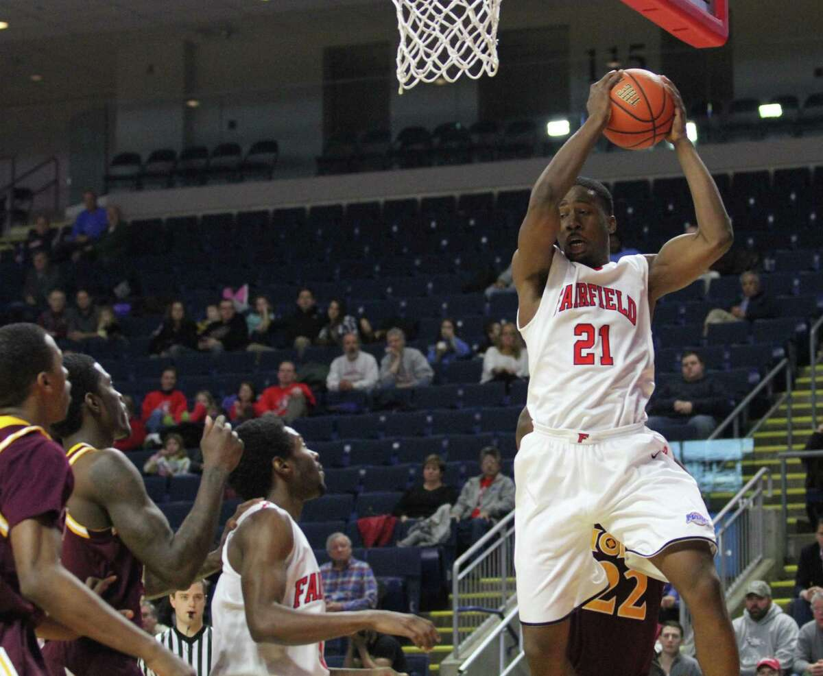 Fairfield's Amadou Sidibe (21) who missed all of last season with a knee injury is 100 percent and ready to go as the Stags begin the 2016-17 season tonight at the Webster Bank Arena against Sacred Heart.
