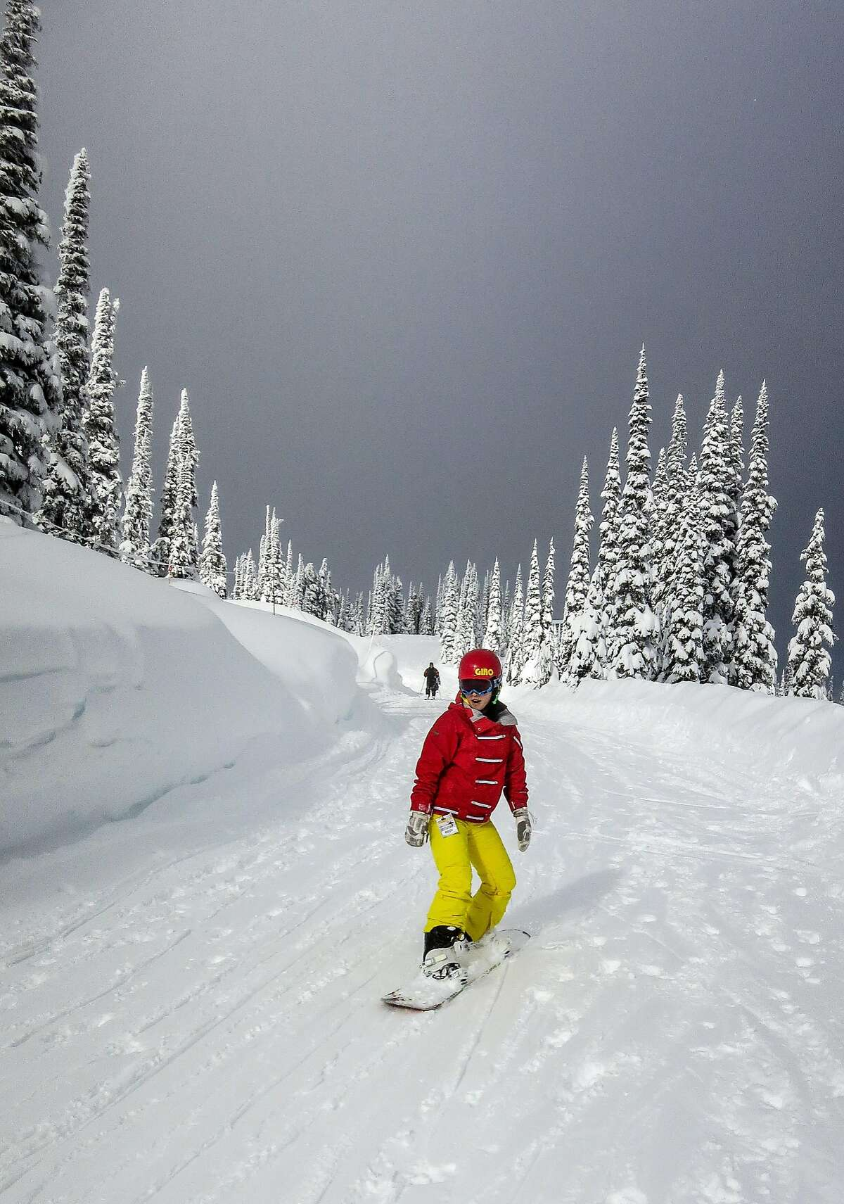Cruising a groomed trail at Whitewater Ski Resort.