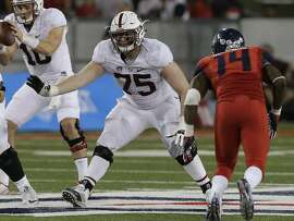 Stanford offensive tackle A.T. Hall (75) during the second half of an NCAA college football game against Arizona, Saturday, Oct. 29, 2016, in Tucson, Ariz. Stanford defeated Arizona 34-10. (AP Photo/Rick Scuteri)