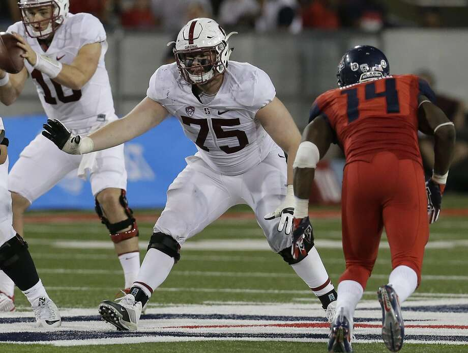 Stanford redshirt sophomore A.T. Hall is one of three new starters on the offensive line — which has sprung the running game for 600 yards rushing over the last two games. Photo: Rick Scuteri, Associated Press