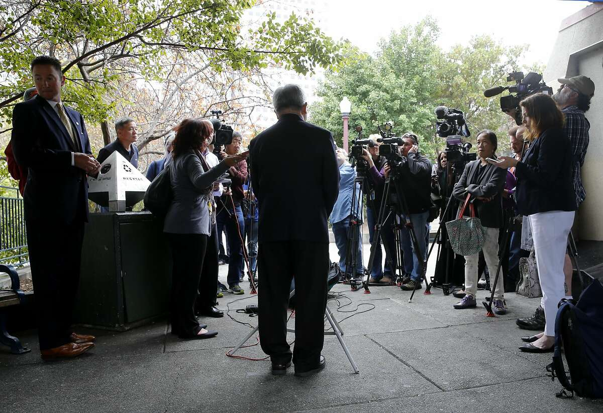 Mayor Ed Lee (center) addressed a group of local media and then took questions at Portsmouth Square Wednesday July 8, 2015. San Francisco Mayor Ed Lee spoke about the sanctuary program which allowed Juan Francisco Lopez-Sanchez to be free on the streets where he allegedly killed Katheryn Steinle recently.