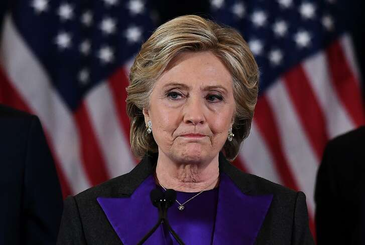 TOPSHOT - US Democratic presidential candidate Hillary Clinton makes a concession speech after being defeated by Republican president-elect Donald Trump in New York on November 9, 2016. / AFP PHOTO / JEWEL SAMADJEWEL SAMAD/AFP/Getty Images