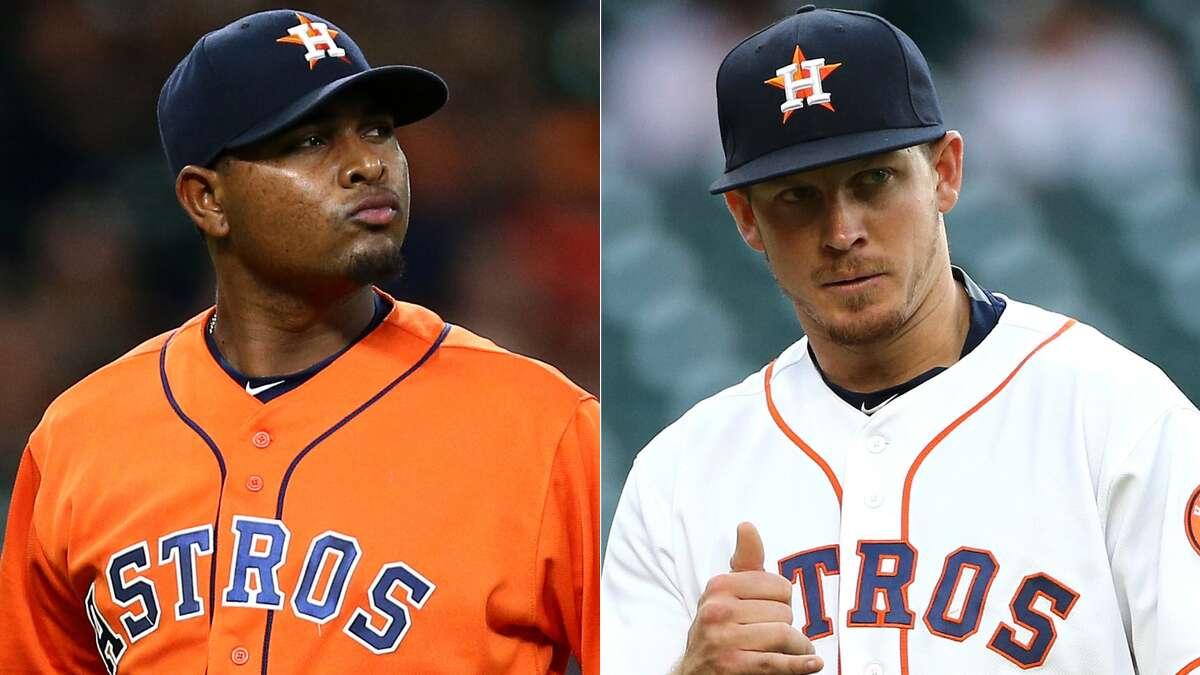 A split photo of Astros pitchers Michael Feliz and Chris Devenski.