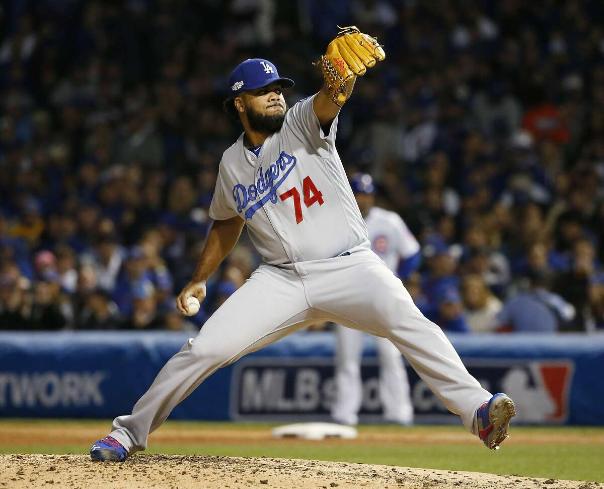 Los Angeles Dodgers relief pitcher Kenley Jansen (74) throws during the sixth inning of Game 6 of the National League baseball championship series against the Chicago Cubs, Saturday, Oct. 22, 2016, in Chicago. (AP Photo/Nam Y. Huh)
