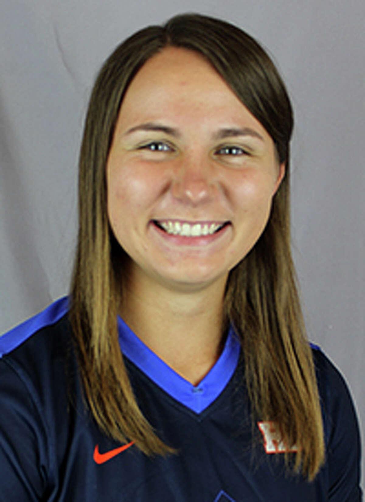 Houston Baptist women's soccer player Allison Abendschein. A 2013 Magnolia High School graduate.