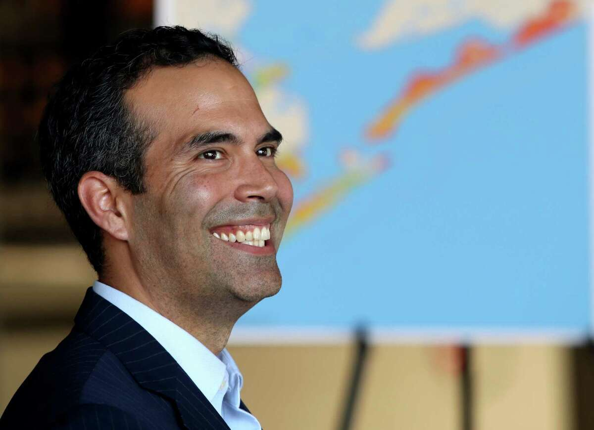 Texas Land Commissioner George P. Bush helps dedicate Galveston's new wastewater treatment plant Wednesday, Sept. 21, 2016.