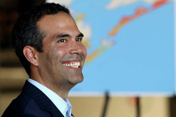 Texas Land Commissioner George P. Bush  helps dedicate Galveston's new wastewater treatment plant Wednesday, Sept. 21, 2016.   Galveston Mayor Jim Yarbrough says projects like the wastewater treatment plant take time. Construction was funded by federal disaster recovery funds administered by the Texas General Land Office.  (Jennifer Reynolds/The Galveston County Daily News via AP)