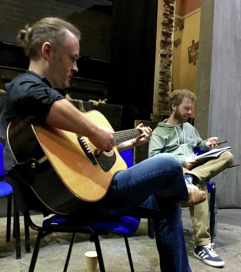 "Jimmy Kelly, left, rehearsing at the Watergate Theatre in Waterford, Ireland, with Andrew Holden, who plays the lead in ""Find Your Way Home"" (Photo by Neil Burgett)"