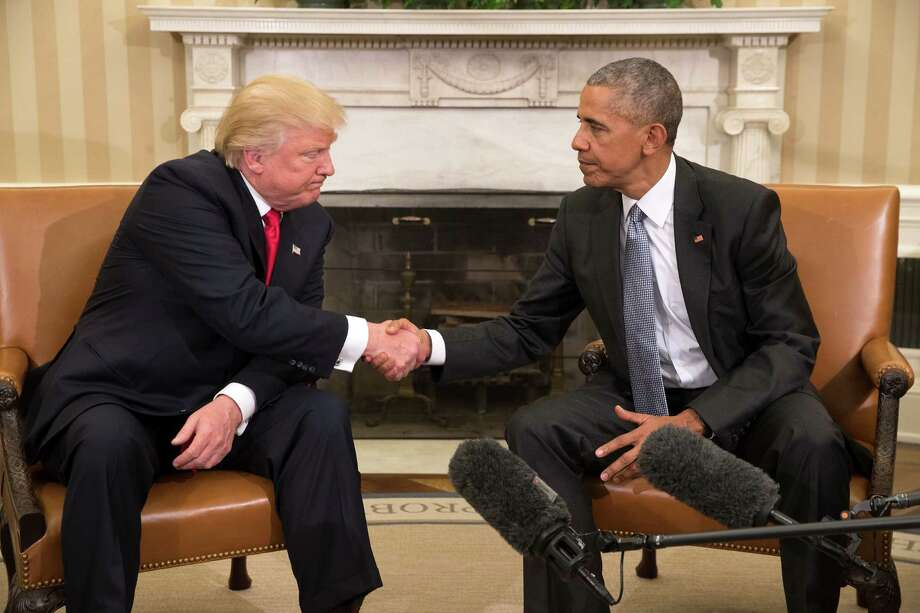 Donald Trump, the president-elect, shakes hands with President Barack Obama during a meeting in the Oval Office of the White House in Washington, Nov. 10, 2016. (Stephen Crowley/The New York Times) ORG XMIT: XNYT49 Photo: STEPHEN CROWLEY / NYTNS