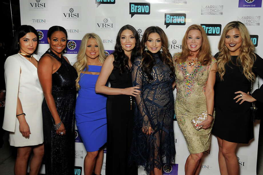 """From left: Pegah Pourasef, Dr. Ashandra Batiste, Rachel Suliburk, Dr. Erika Sato, Dr. Monica Patel, Cindi Rose and Dr. Elly Pourasef at the """"Married to Medicine Houston"""" premier party at VrSi on Thursday. Photo: Dave Rossman, For The Chronicle / Dave Rossman"""