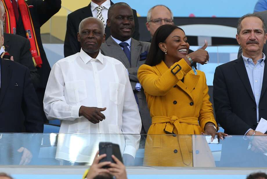President of Angola Jose Eduardo dos Santos and his wife Ana Paula dos Santos attend the 2014 FIFA World Cup Brazil Group H match between Belgium and Russia at Maracana on June 22, 2014 in Rio de Janeiro, Brazil. Photo: Jean Catuffe, Getty Images