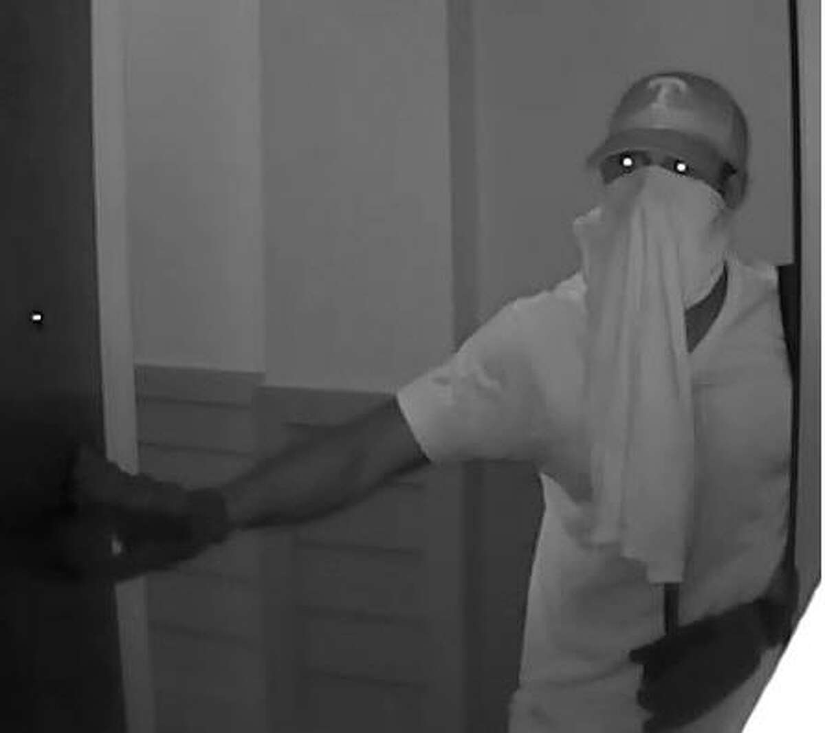 Surveillance photo of a suspect in a burglary about 11:50 a.m. Nov. 1, 2016, at an apartment in the 1000 block of Cleveland near downtown Houston. (Crime Stoppers)
