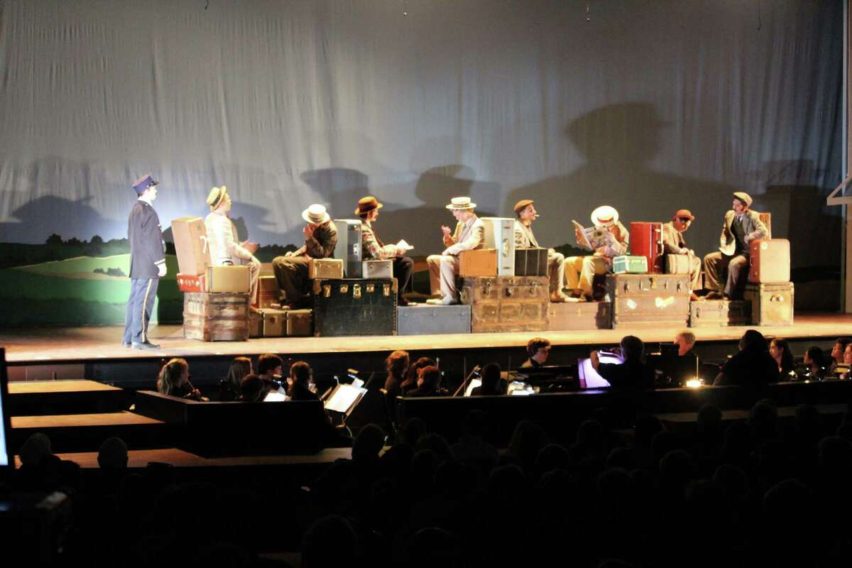 """The Staples Players rehearse for their musical, """"The Music Man,"""" which has performances on Nov. 18 and 19."""