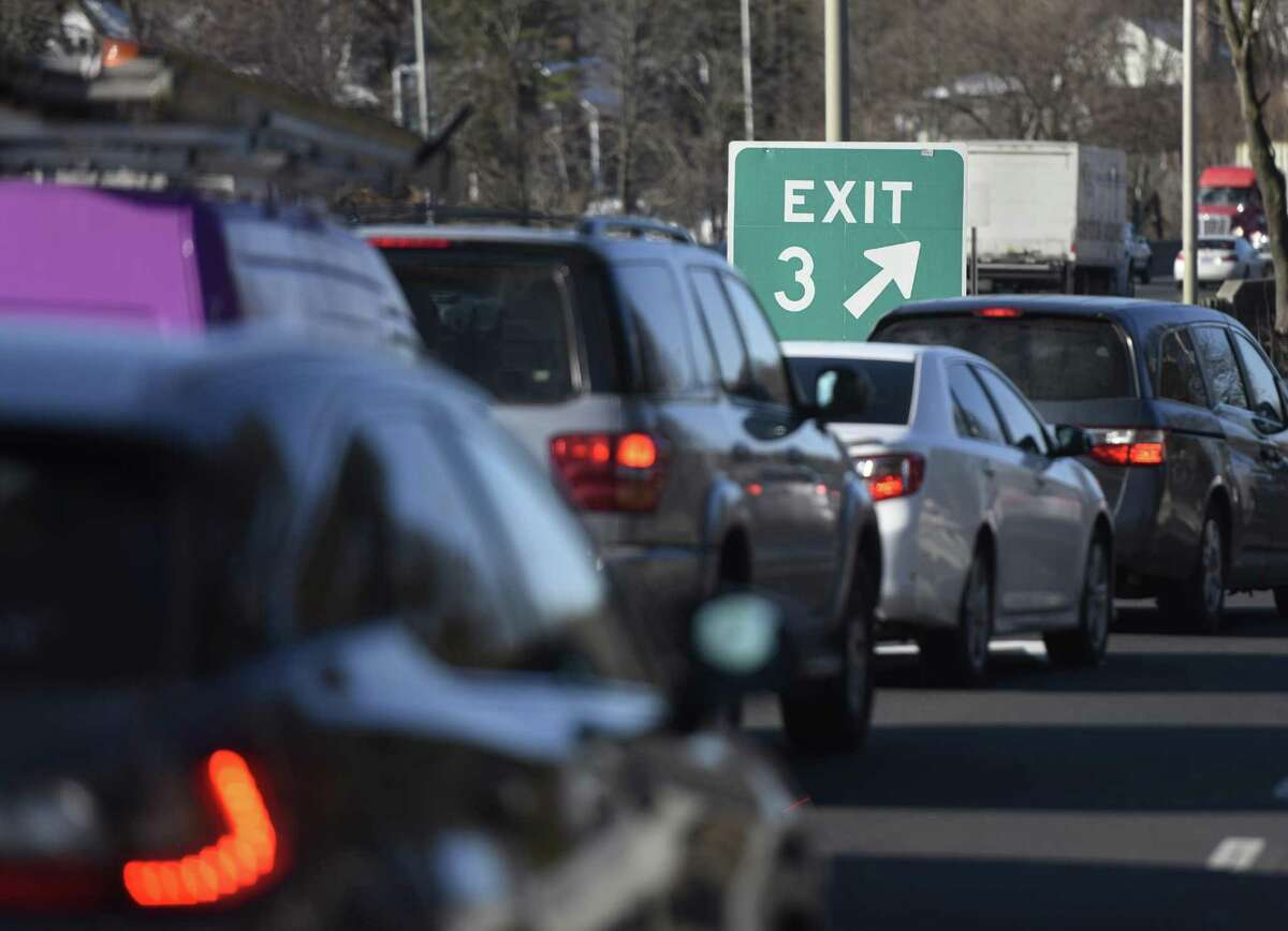 Traffic backs up on I-95 at Arch Street Exit 3 in Greenwich, Conn. Thursday, Feb. 11, 2016. Traffic frequently backs up from the exit ramp onto the highway during rush hour at the Arch Street exit.