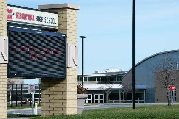 Sign at the entrance to Niskayuna High School Thursday Nov. 10, 2016 in Niskayuna, NY.  (John Carl D'Annibale / Times Union)