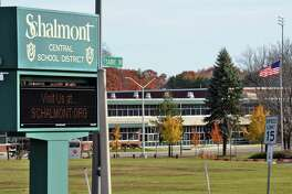 Sign at the entrance to Schalmont Schools Thursday Nov. 10, 2016 in Rotterdam, NY. (John Carl D'Annibale / Times Union)