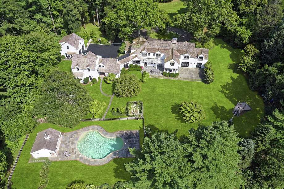 The aerial view of this six-acre estate at 1018 Weed Street gives a sense of its scale. Photo: Daniel Milstein Photography
