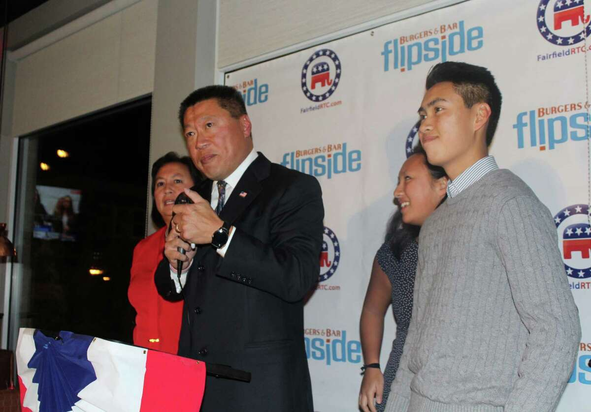 Sen. Tony Hwang, R-28 celebrates victory Tuesday night at Flipside in Fairfield, Conn. on Nov. 8, 2016 as the elections were called.