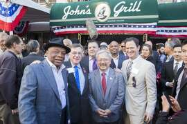 Willie Brown, Lee Housekeeper, John Konstin, Ed Lee and Alex Clemens attend John's Grill Hosts Willie Brown Luncheon November 8th 2016 at John's Grill in San Francisco, CA