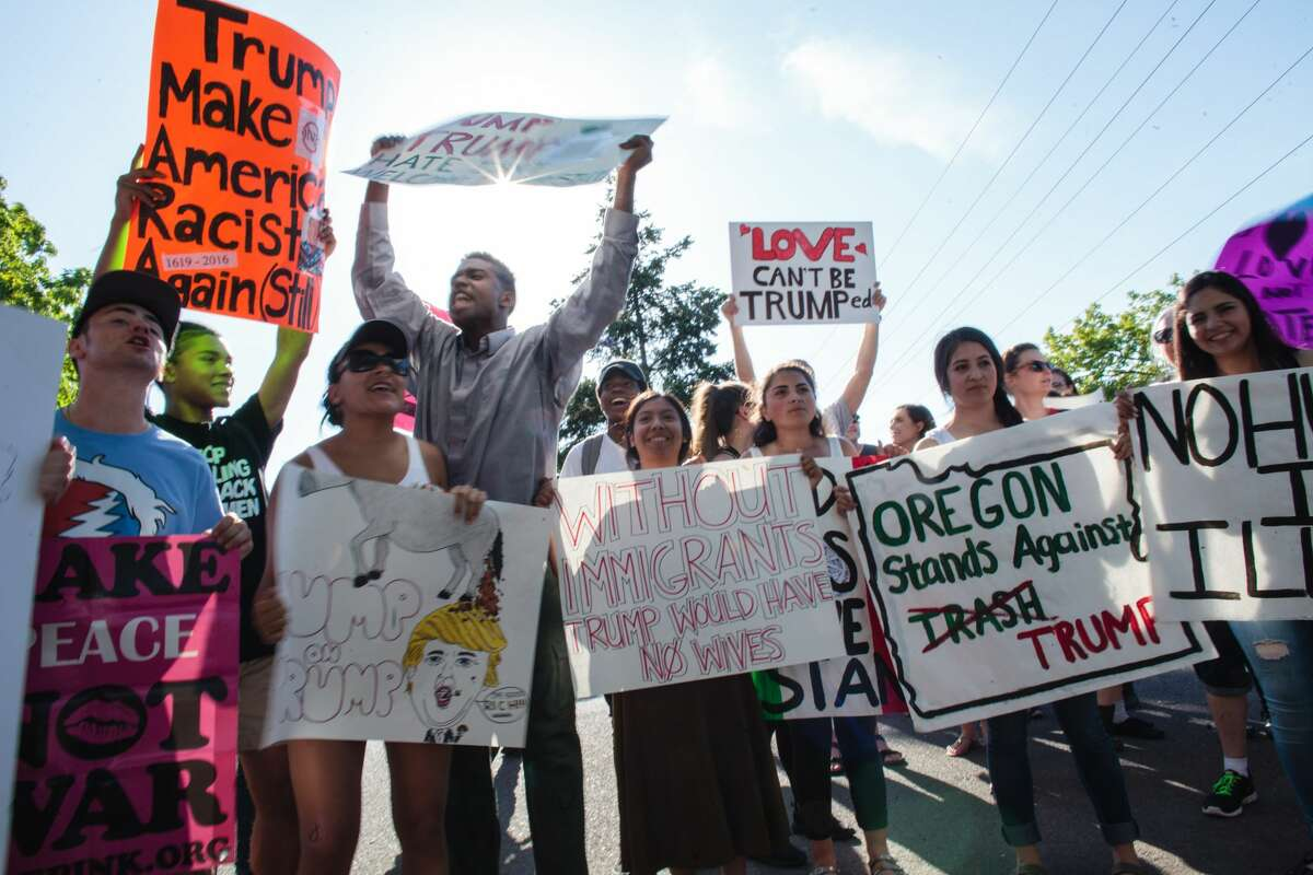Protesters are shown at a Donald Trump rally in Eugene, Oregon, in May. Oregon isn't the only state where there's secession talk. Some Californians also want to secedebecauseof Trump's victory. Talks of secession have existed in Texas for years, even before Trump was a candidate for president. Which state would make a better country? Texas or California? Click through the slideshow to see if the Lone Star State or the Golden State would make for a better country after secession.