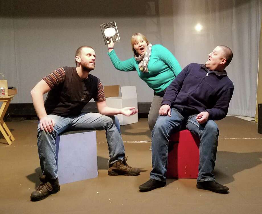 """Almost, Maine"" is on stage in Newtown. Town Players will present the show, which explores love and loss, Friday, Nov. 18, through Sunday, Dec. 10. In rehearsal are James O'Reilly, left, Stephanie Woerdeman and Tony Benedetti. Photo: Town Players / Contributed Photo"
