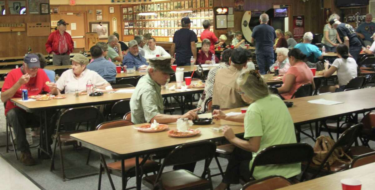 Veterans at VFW Post 1839 enjoy a meal courtesy of H-E-B's Operation Appreciation program.