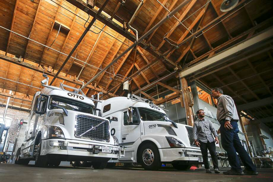 Otto of San Francisco converts commercial tractor-trailers into vehicles that are capable of autonomous operation. Photo: Tony Avelar, Associated Press