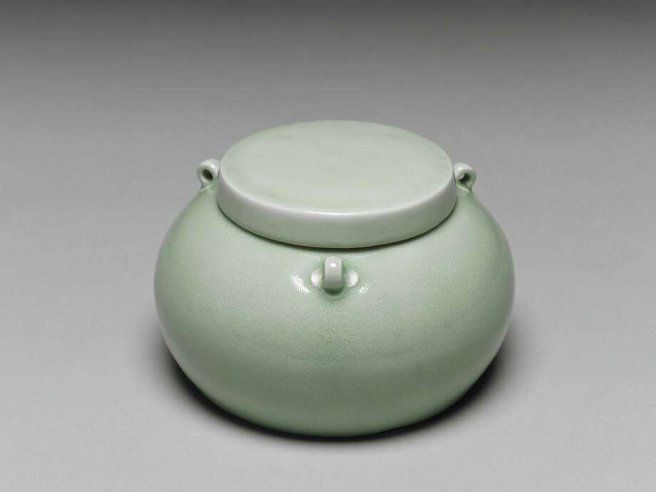 This Emperor Yongle-era jar with a pale-green glaze is among the objects on view at the Museum of Fine Arts, Houston. Photo: National Palace Museum