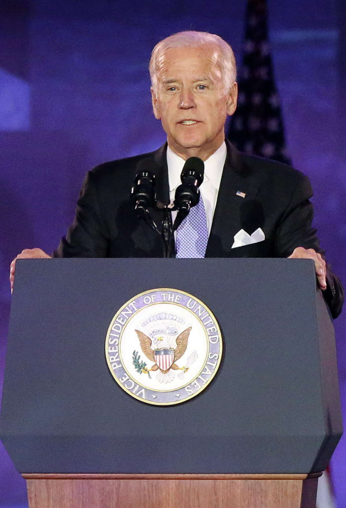 U.S. Vice President Joe Biden, leader of the White House Cancer Moonshot, which aligns with University of Texas MD Anderson?•s Moon Shots Programª, gives a speech to celebrate the 75th Anniversary of MD Anderson Cancer Center Thursday, Nov. 10, 2016, in Houston. Biden's son, Beau Biden, was admitted and treated at MD Anderson for brain cancer in 2013.