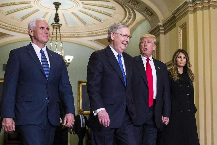 "FILE-- President-elect Donald Trump meets with Senate Majority Leader Mitch McConnell (R-Ky.) on Capitol Hill in Washington, Nov. 10, 2016. With them are Melania Trump and Vice President-elect Mike Pence. Congressional leaders confirmed this week what seemed inevitable with the triumph of Trump: The far-reaching Trans-Pacific Partnership trade agreement with 11 other Pacific Rim nations that President Obama hoped to leave as a major legacy, but which Trump called ""a terrible deal,"" is dead. Photo: AL DRAGO, NYT"