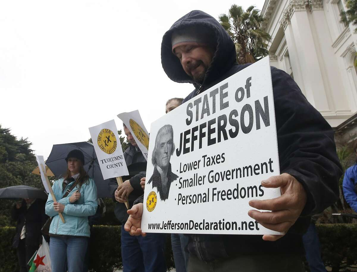 Another proposition to separate the rural areas of Oregon and California from their liberal majority has been the State of Jefferson. Joey Rivera, of Tuolumne County, Calif., bows his head in prayer during a rally calling for the creation of the state of Jefferson, at the Capitol on Wednesday, Jan. 6, 2016, in Sacramento, Calif. Supporters said creating the 51st state, along the California-Oregon border, would give them the government representation they claim they are not getting.