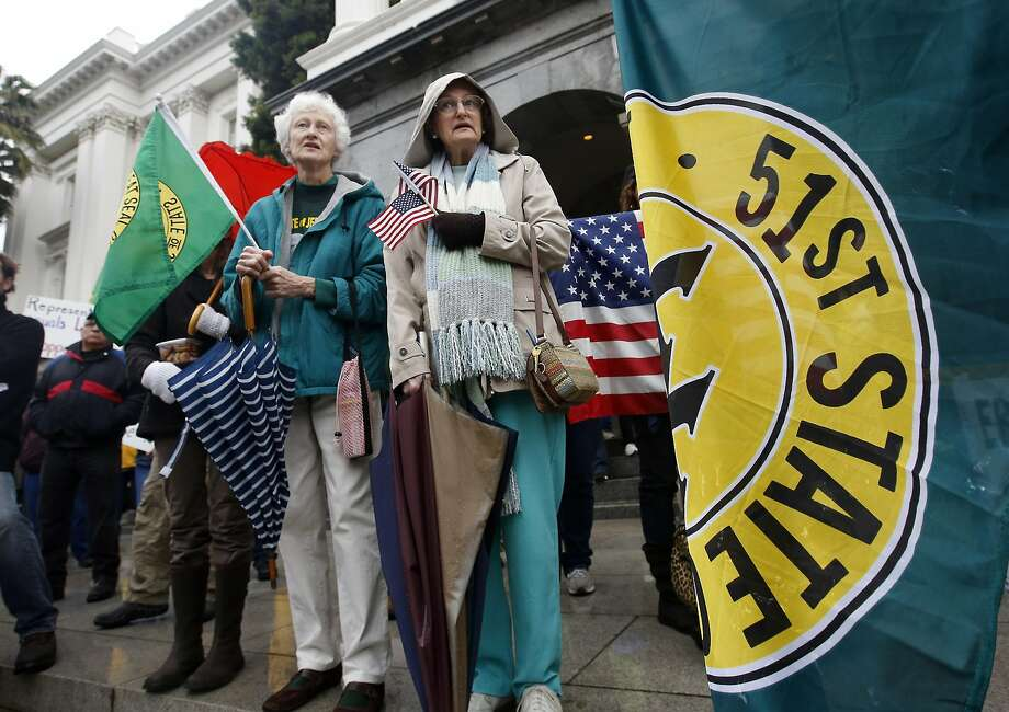 Residents of the northernmost regions of California, rallying in Sacramento in January, have long pushed for a new State of Jefferson that would span the California-Oregon border. Photo: Rich Pedroncelli, AP