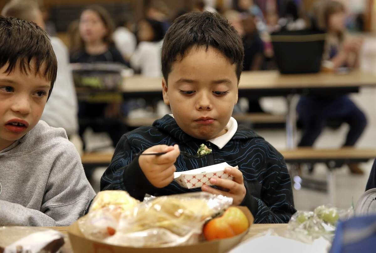 Second grader Caden Doral rated the sample of tabbouleh salad as tried but did not finish it during a taste testing by Glenview Elementary students in support the Good Food Purchasing Program in Oakland, California as seen on Wednesday November 2, 2016.