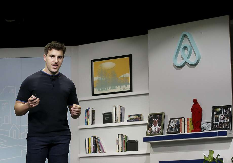 Airbnb co-founder and CEO Brian Chesky speaks during an event in San Francisco in 2016. Photo: Jeff Chiu, Associated Press